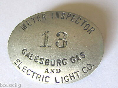 Ant Employee Badge Pin Meter Inspector Galesburg Ill Gas & Electric Light Co #13