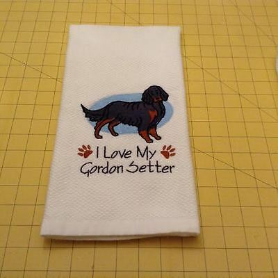 I Love My Gordon Setter Embroidered Kitchen Hand Towel 100% cotton xtra lg