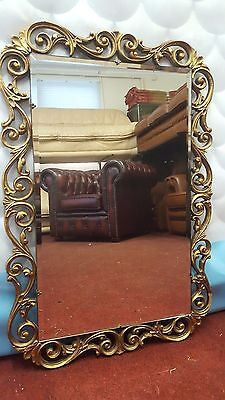 Vintage Ornate Wood And Gilt Gesso Framed Rectangular Mirror By Atsonea