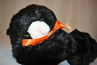 "Princess Soft Toys Black Kitten Cat Stuffed Animal Plush NWT 12"" Orange Ribbon"