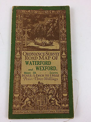 Vintage Ordnance Survey Road Map Waterford and Wexford Ireland sheet 23 Good B20