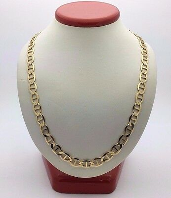"""New Solid 14K Yellow Gold 24"""" Flat Mariner Chain Necklace 28 grams, 7.4 mm"""