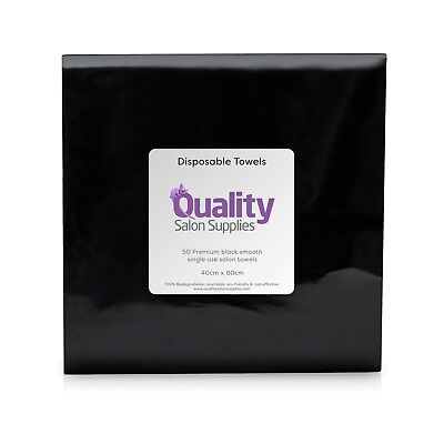 Branded Black Disposable 100% Biodegradable Hand & Hair Salon Towels