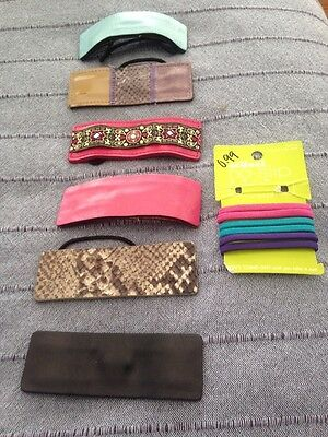 VINTAGE LOT OF 6 HAIR PONYTAIL HOLDER WRAP LEATHER THE LIMITED + Scunci No Slip