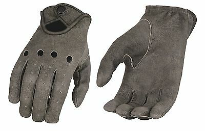 Men's Professional Style Driving Glove w/ Snap Wrist, Distressed Grey Leather
