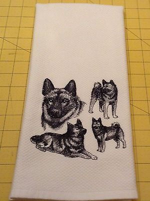 NORWEGIAN ELKHOUND COLLAGE SKETCH Williams Sonoma Embroidered Kitchen Towel