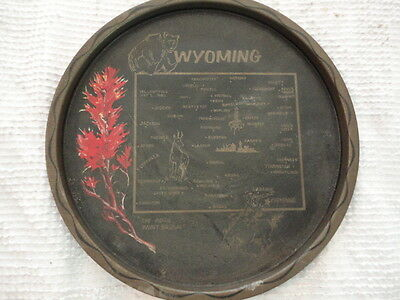 """Vintage Wyoming State Black and Gold Metal Decorative Souvenir Plate (11"""") HD12"""