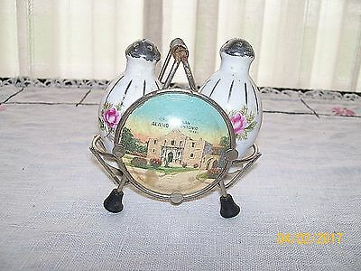 Rare/Vintage Salt & Pepper Shakers in Metal Holder / The ALAMO, San Antonio, TX