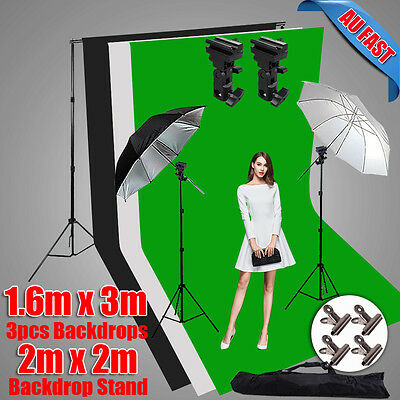 Photography Studio Speedlite Umbrella Flash Lighting 3X Backdrop Stand Kit Mount
