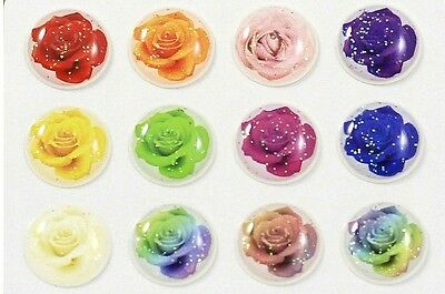 12pcs Home Button Sticker Decals Glitter Rainbow Roses for iPhone