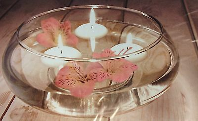 Round Floating Flowers Candle Glass Bowl Wedding Table Candle Flower Bowl