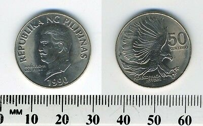 Philippines 1990 - 50 Sentimos Copper-Nickel Coin - Pithecophaga eagle attacking