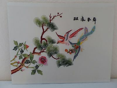 Antique Chinese Hand Embroidered Silk Embroidery Panel Two Phoenix & Blossoms