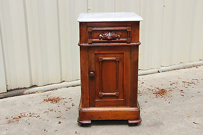 Fancy Walnut Victorian Renaissance Revival Marble Top Half-Commode Nightstand