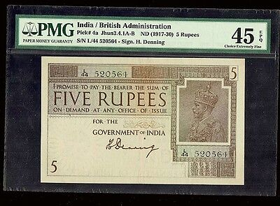 British India 5 Rupees Note (1917-1930)  , Choice EF PMG-45 EPQ Pick #4a