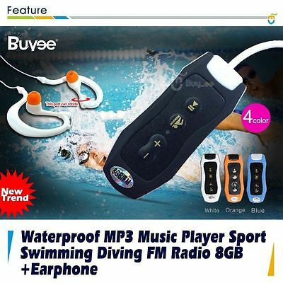 Waterproof MP3 Music Player Sport Swimming Diving FM Radio Clip 8GB And Earphone