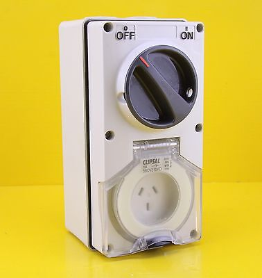 Clipsal 56CV310HD Switched Socket Outlet Single Phase 3 pin 10A 250V H/D Switch