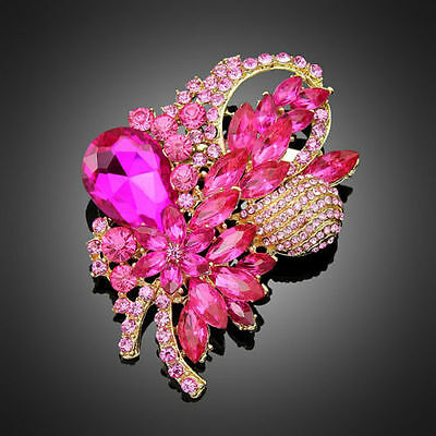 Beautiful Big Gold Plated Pink Crystal Flower Vintage Inspired Statement Brooch
