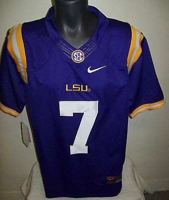 LSU TIGERS #3 BECKHAM JR or #7 FOURNETTE Sewn Jersey PURPLE L, XL, 2X, 3X