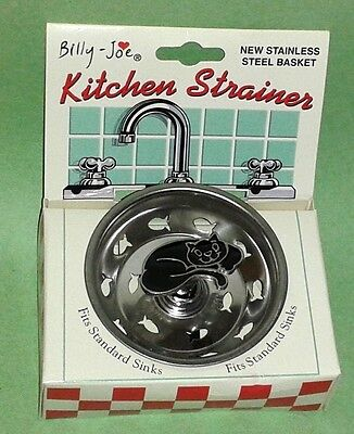 Billy-Joe Black Enamel Curled Cat Kitchen Sink Strainer ~ NIP
