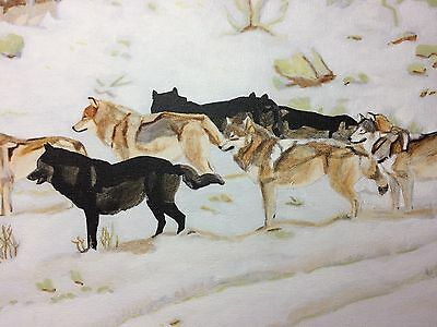 """Original Wolf Wildlife Art Wolves Pack 14x21"""" Acrylic Painting Canvas"""