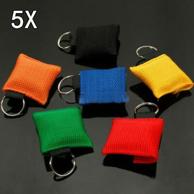 5X CPR Resuscitator Emergency Mask Key Ring Keychain Face Shield Rescue Hot