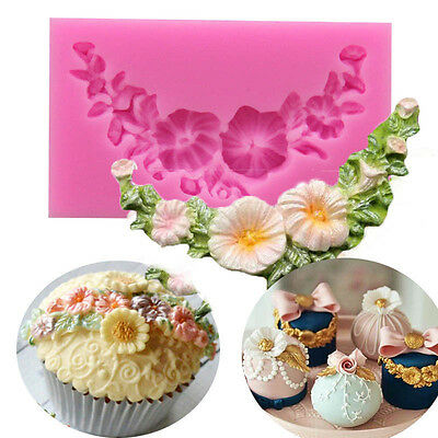 Daisy Flower Floral Swag Silicone Fondant Mould Lace Cake Decor Baking Sugar