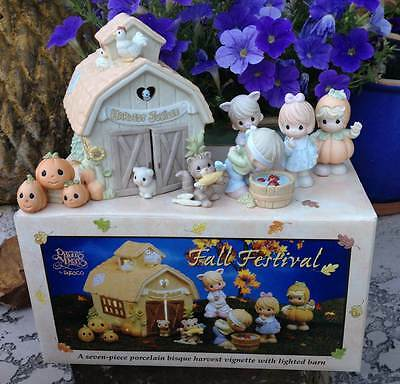 Precious Moments Fall Festival 7 Pc Set w Lighted Barn by Enesco '02 MINT