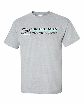 Usps Postal Grey T-Shirt Full Two Color Postal Logo On Chest All Sizes S - 6X