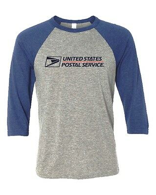 Usps Postal Navy & Gray 3/4 Sleeve Raglan T-Shirt 2 Color Postal Logo On Chest