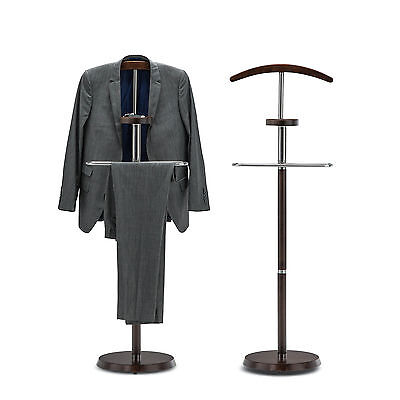 Mens Gentlemen Polished Timber Valet Suit Jacket Key Shoe Hanger Coat Rack Stand