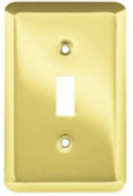 Polished Brass Stamped Round 1 Gang Toggle Wall Plate Steel Installati 4PK