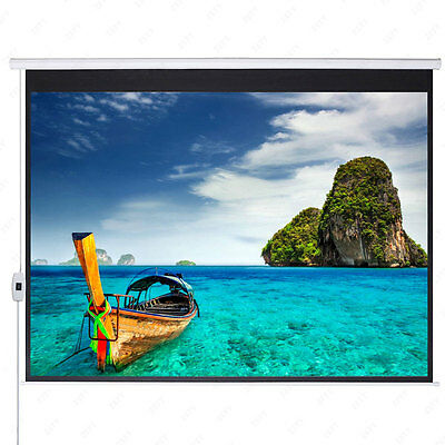 """100"""" 16:9 HD 87"""" x 49"""" Electric Motorized Projector Screen + Remote"""