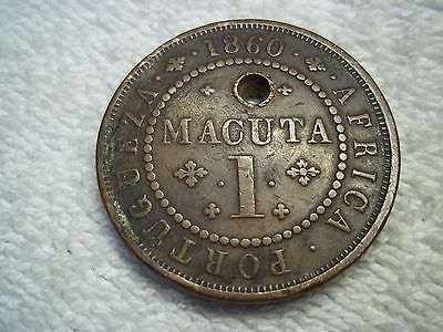 1860 Angola 1 Macuta Portuguese Africa old world copper coin -shown