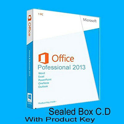 Microsoft Office Professional 2013  Genuine Sealed box  DVD key in box by post