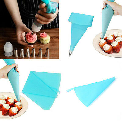 DIY Silicone Icing Piping Cream Pastry Bag 6 Nozzle Set Cake Decorating Tools