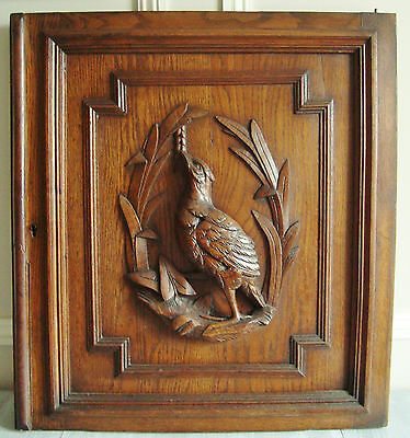 SUPERB ANTIQUE CARVED WOODEN BIRD PANEL DOOR FOR DECORATION 1900's GAME BIRD