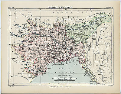 Bengal and Assam - Antique Map from Encyclopaedia Britannica c.1880