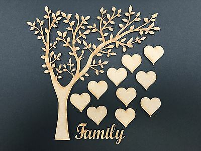 Arched Wooden MDF Family Tree & hearts,complete set,weddings guestbooks