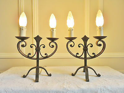 Wrought Iron Table Lamps Gothic Chateau Medieval Lights French Vintage