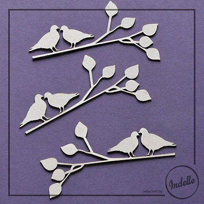 Birds on a Branch Chipboard Shapes Card Making Papercraft Scrapbooking 3 Pack