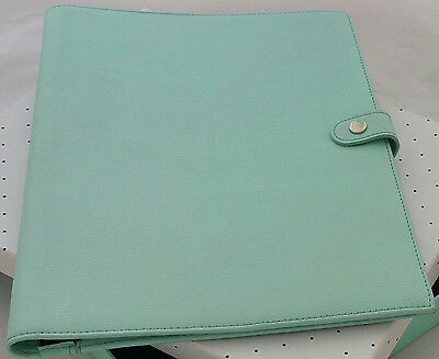 Kikki k A5 leather notepad notebook cover holder blue + daily planner mint