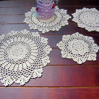 Retro Doilies Tablecloth Coasters Placemat Handmade Crochet Cotton Doily Cover