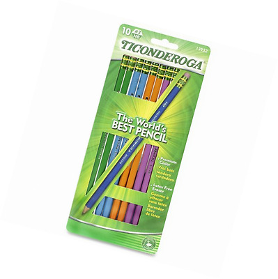 Dixon Ticonderoga Wood-Cased #2 Pencils, Black Lead, Box of 10, Assorted Color B