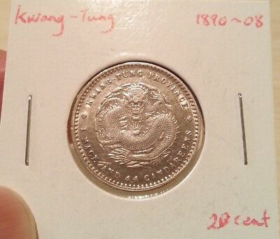 1890-1908 China Kwang-Tung Silver Dragon Coin 1 Mace 4.4 candareens (20 cents)