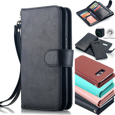 Samsung Galaxy S8+ Plus Luxury Wallet Case Flip Leather Removable Magnetic Cover