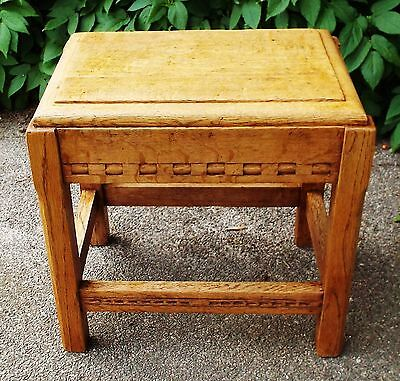 Antique Arts & Crafts Solid Light Oak Hand Carved Joint Stool or Side Table