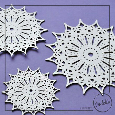 Lace Circle Chipboard Shapes Card Making Papercraft Scrapbooking 3 Pack