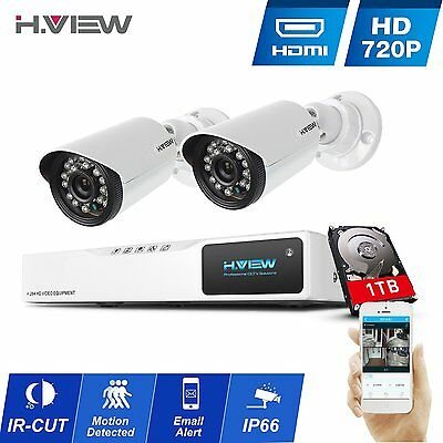 H.View 4CH 2 CCTV IR Outdoor Home Security Camera System HDMI DVR 1TB Hard Drive