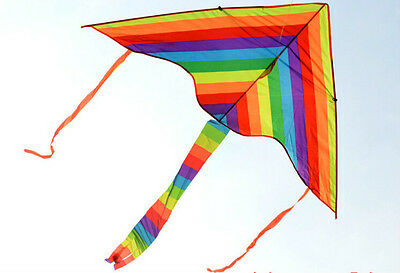 1m Rainbow Delta Kite outdoor sports for kids Toys easy to fly GD